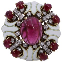 Substantial Gold Ring with White Enamel Diamonds and Rubies