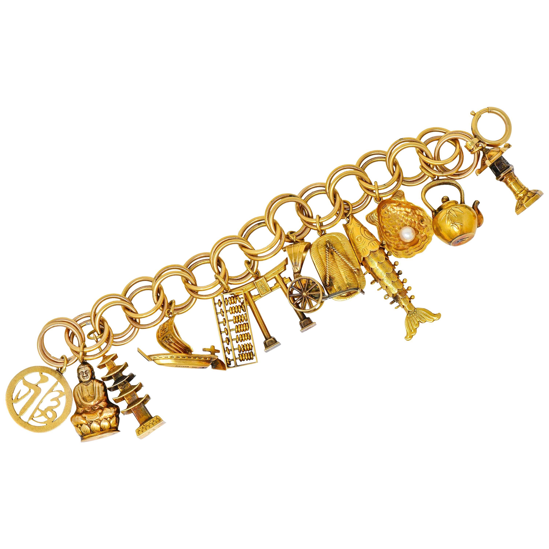 Substantial Kichigoro Uyeda Retro Pearl 14 Karat Gold Japanese Charm Bracelet
