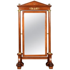 Substantial Mahogany Empire Cheval Mirror
