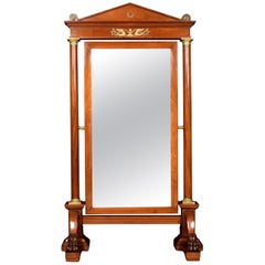 Substantial Mahogany Empire Cheval Mirror
