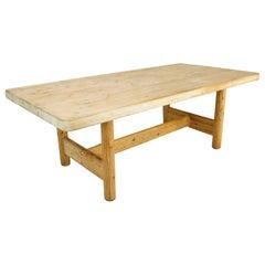 Substantial Solid Scandinavian Pine Butcher Block Dining Table