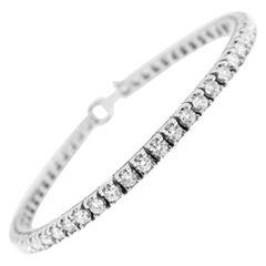Substantial Square 4-Prong Set Diamond Tennis Bracelet in 18 Karat White Gold