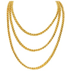 Substantial Victorian 14 Karat Gold Long Chain Necklace, circa 1880
