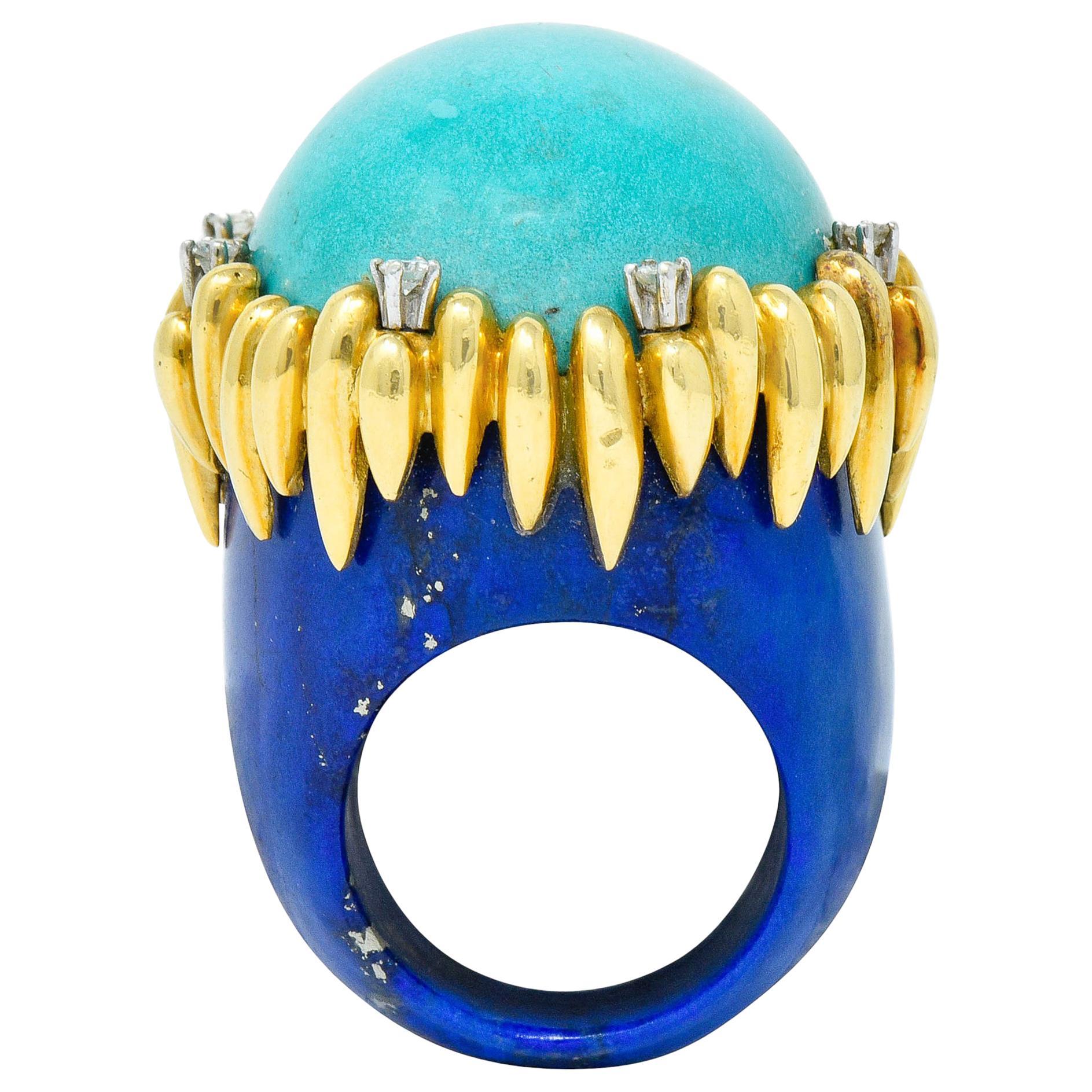 Substantial Vintage 1960s Turquoise Lapis Diamond 18 Karat Gold Statement Ring