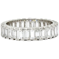 Substantial Vintage 3.80 Carat Diamond Platinum Eternity Band Ring