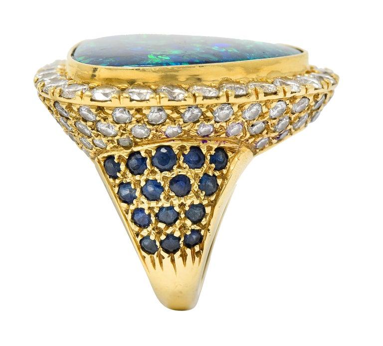 Substantial Vintage Black Opal Diamond Sapphire 18 Karat Gold Statement Ring For Sale 5