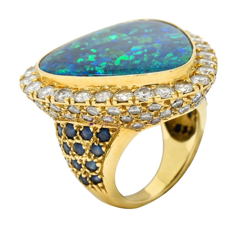 Substantial Vintage Black Opal Diamond Sapphire 18 Karat Gold Statement Ring For Sale 6