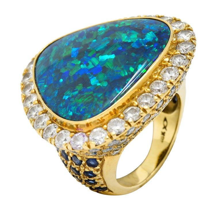 Substantial Vintage Black Opal Diamond Sapphire 18 Karat Gold Statement Ring For Sale 7