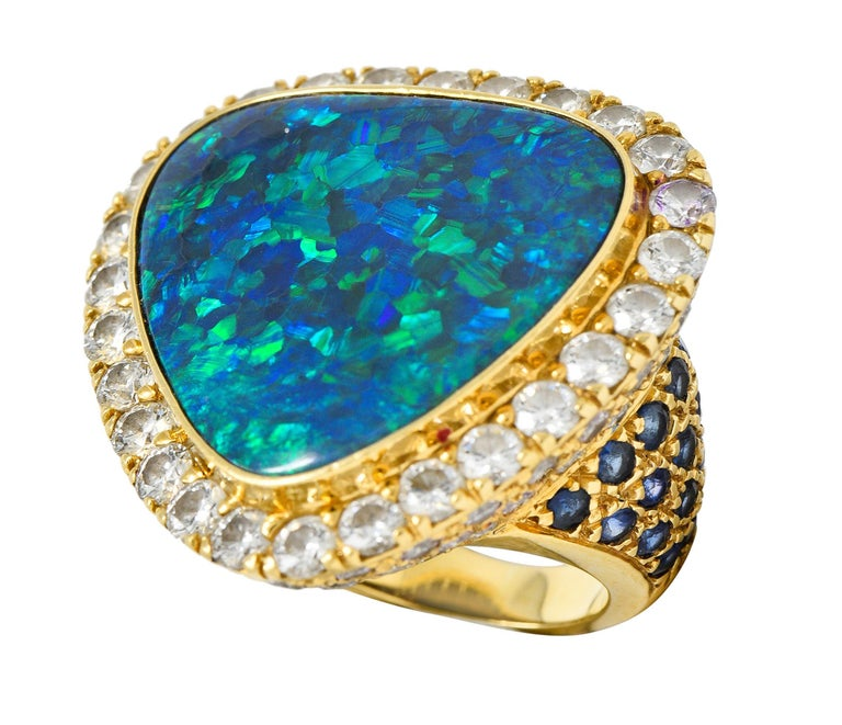 Substantial Vintage Black Opal Diamond Sapphire 18 Karat Gold Statement Ring For Sale 8