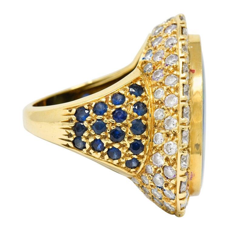 Contemporary Substantial Vintage Black Opal Diamond Sapphire 18 Karat Gold Statement Ring For Sale