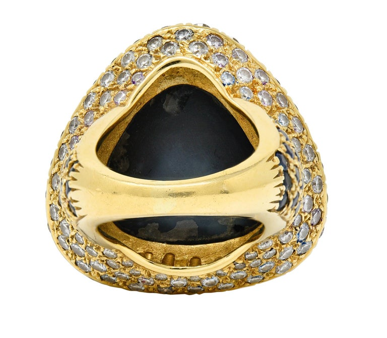Substantial Vintage Black Opal Diamond Sapphire 18 Karat Gold Statement Ring In Excellent Condition For Sale In Philadelphia, PA