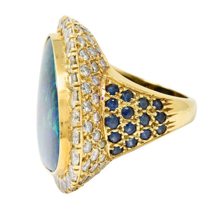 Women's or Men's Substantial Vintage Black Opal Diamond Sapphire 18 Karat Gold Statement Ring For Sale