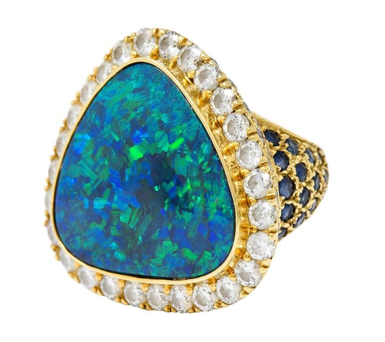 Substantial Vintage Black Opal Diamond Sapphire 18 Karat Gold Statement Ring For Sale 1
