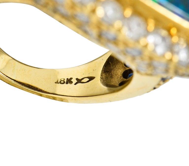Substantial Vintage Black Opal Diamond Sapphire 18 Karat Gold Statement Ring For Sale 2