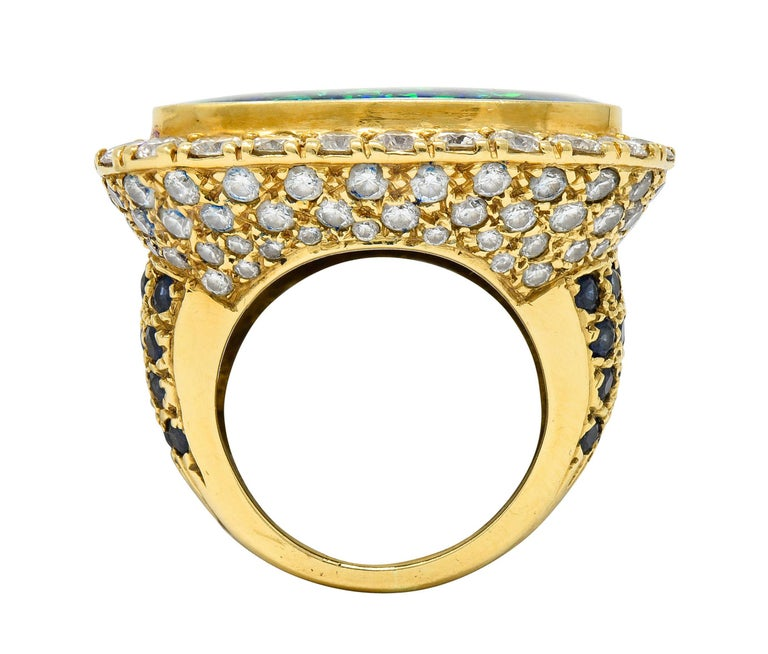 Substantial Vintage Black Opal Diamond Sapphire 18 Karat Gold Statement Ring For Sale 3