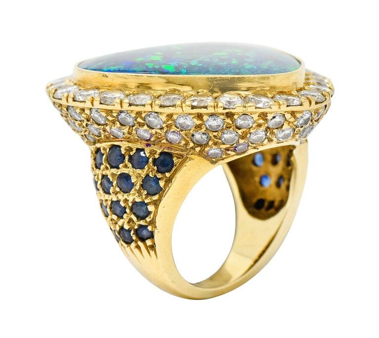Substantial Vintage Black Opal Diamond Sapphire 18 Karat Gold Statement Ring For Sale 4