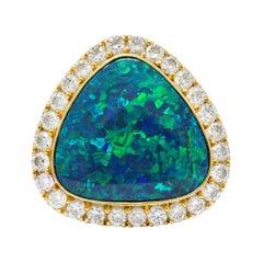 Substantial Vintage Black Opal Diamond Sapphire 18 Karat Gold Statement Ring