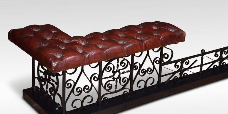 British Substantial wrought iron club fender For Sale