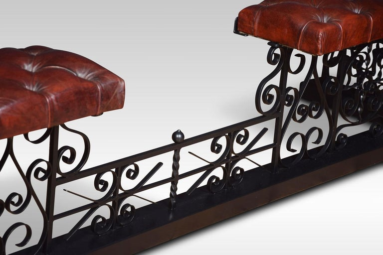 20th Century Substantial wrought iron club fender For Sale
