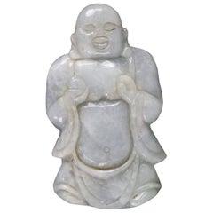 Subtle Green Jadeite Jade Carved Antique Buddha Fine Estate Find
