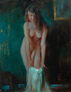 """Figure Against Emerald,"" Oil Painting"