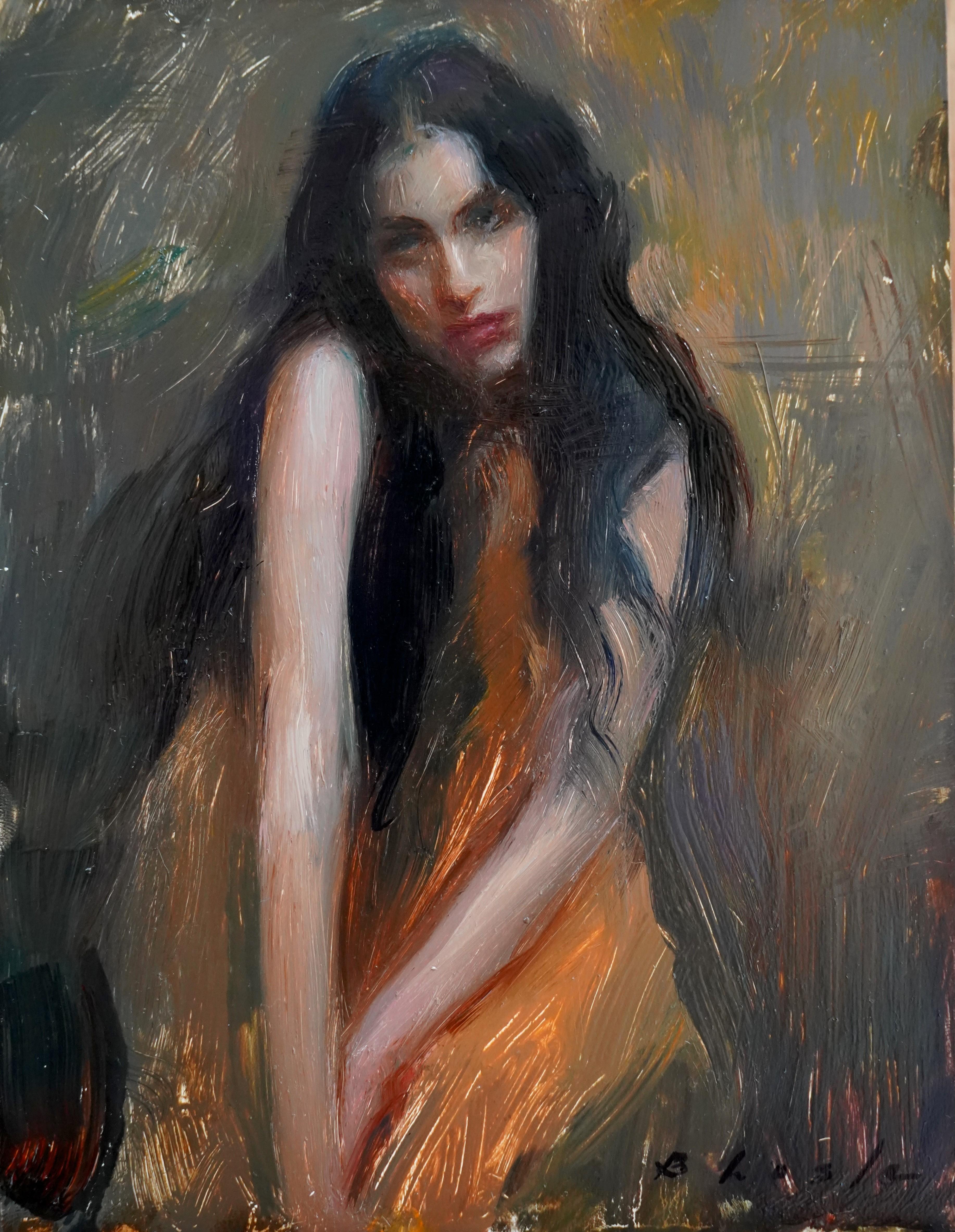 """""""Mood in Orange,"""" Oil Painting"""