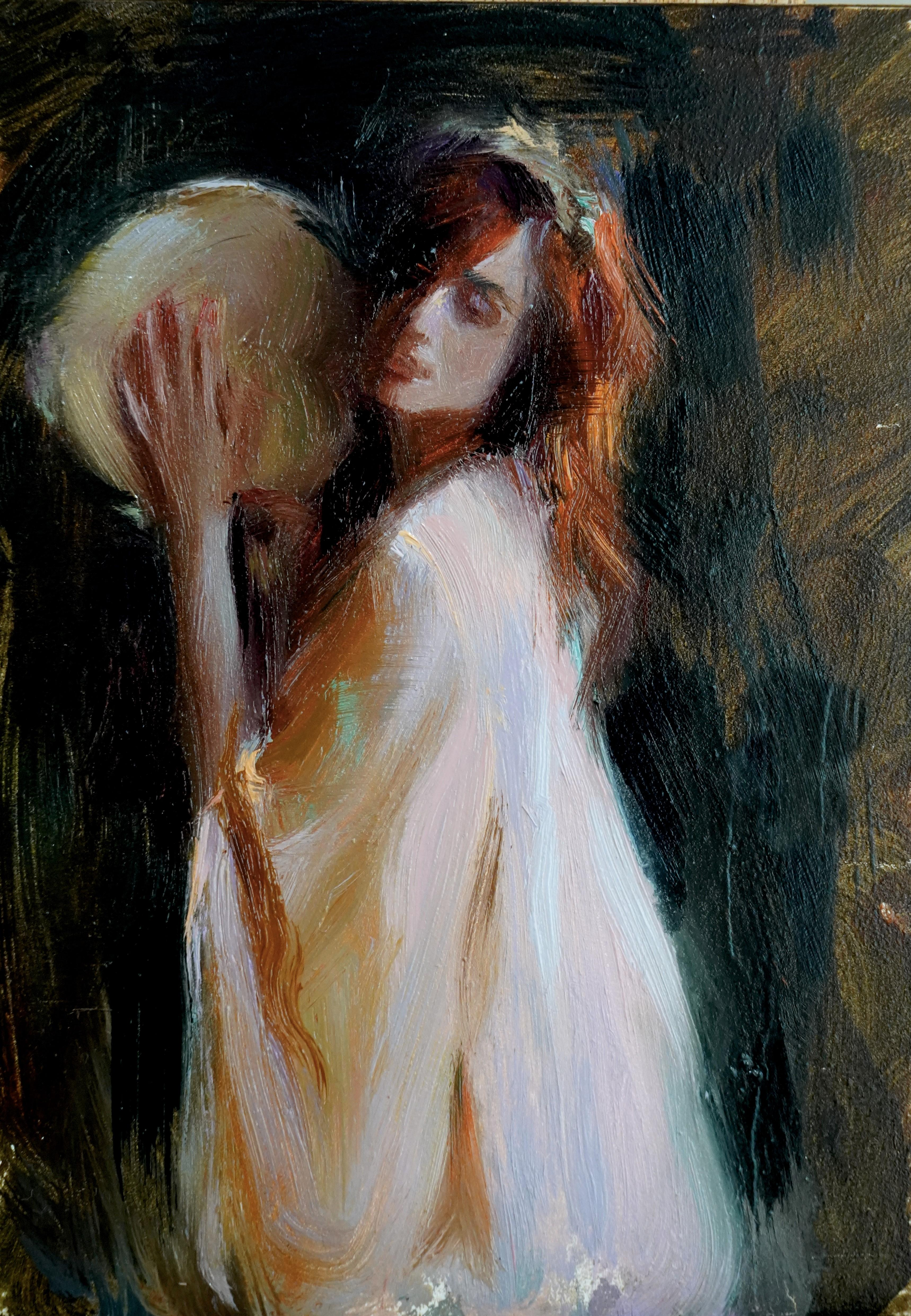 """""""Tambourine Melody,"""" Oil Painting"""