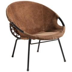 Suede Hoop Chair, Germany, circa 1950