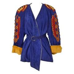 Suede jacket with suede patchwork Claude Montana