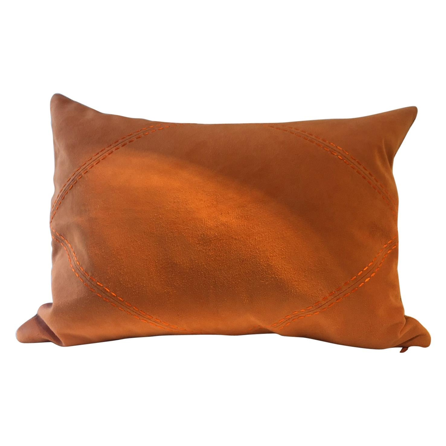 Suede Leather Cushion Color Mandarine Hand Saddle Stitched Rhombus Detail