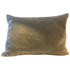 Suede Leather Cushion Color Sea Foam Green Hand Saddle Stitched Rhombus Detail