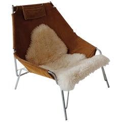 Suede Lounge Chair with Sheepskin by Erik Ole Jorgensen for Bovirke