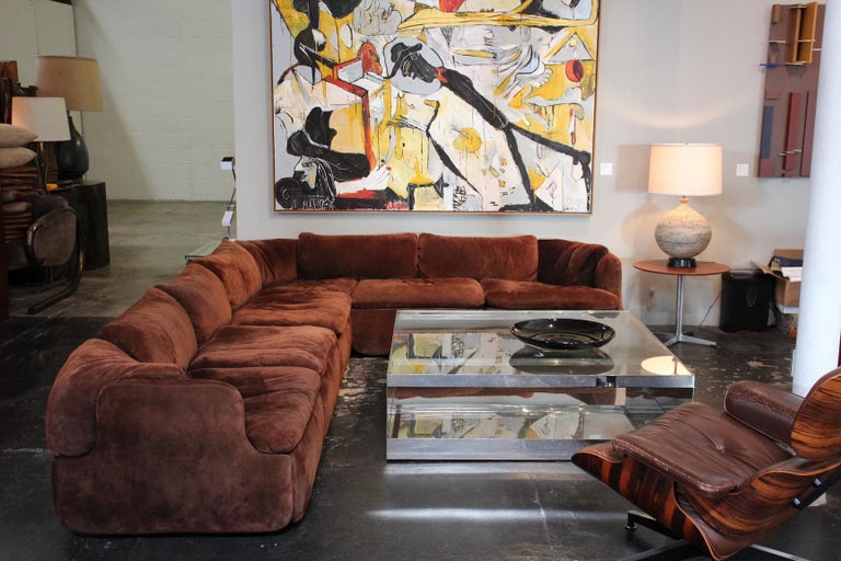 Suede Sectional Sofa by Alberto Rosselli for Saporiti 7