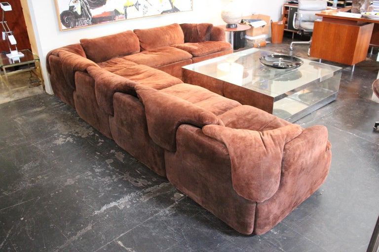 Suede Sectional Sofa by Alberto Rosselli for Saporiti 8