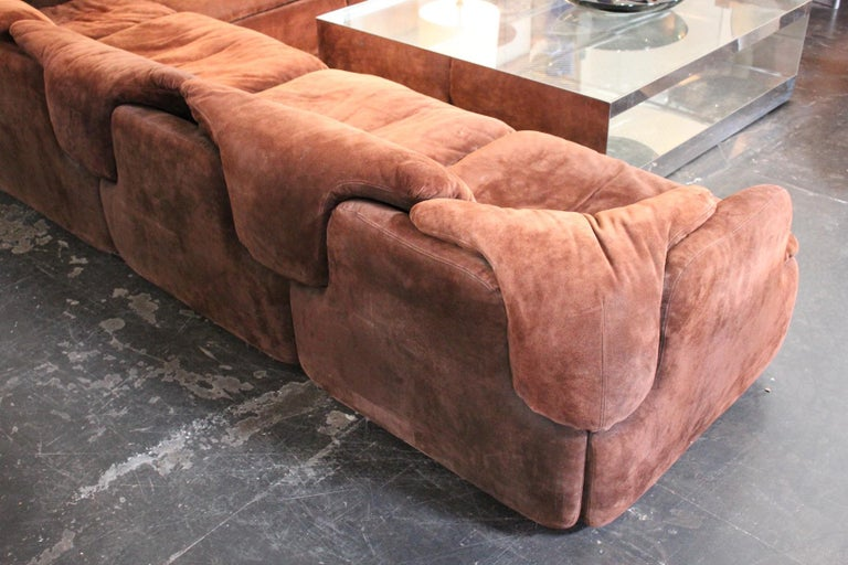 Suede Sectional Sofa by Alberto Rosselli for Saporiti 9
