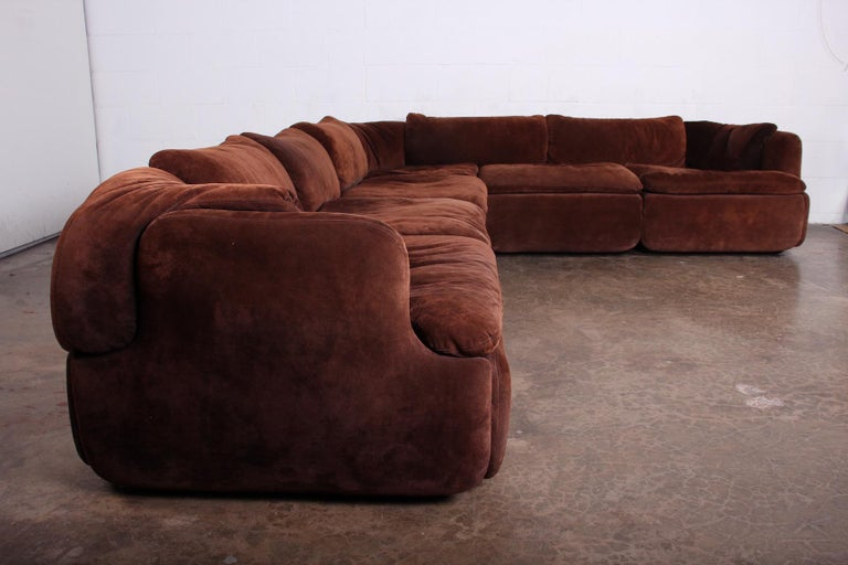 Late 20th Century Suede Sectional Sofa by Alberto Rosselli for Saporiti