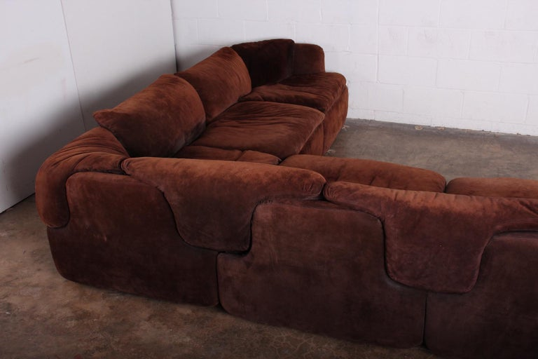 Suede Sectional Sofa by Alberto Rosselli for Saporiti 1
