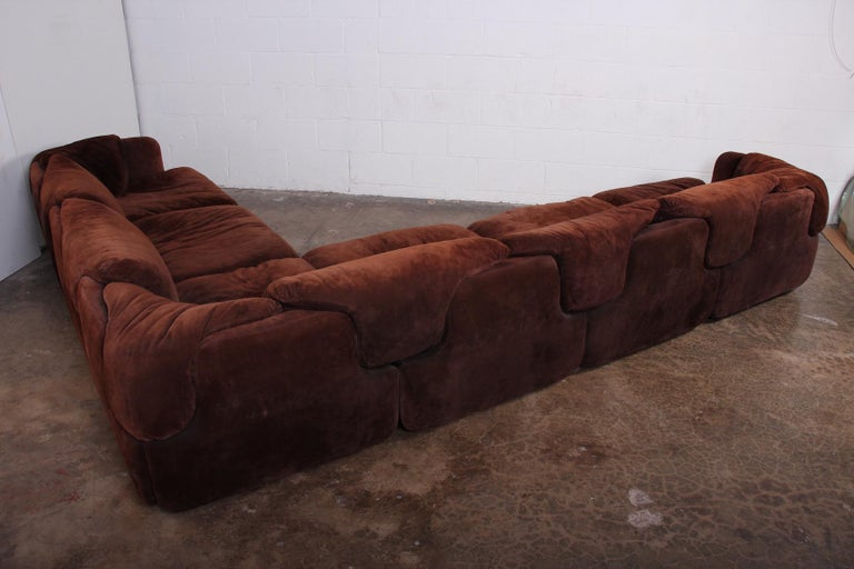 Suede Sectional Sofa by Alberto Rosselli for Saporiti 3