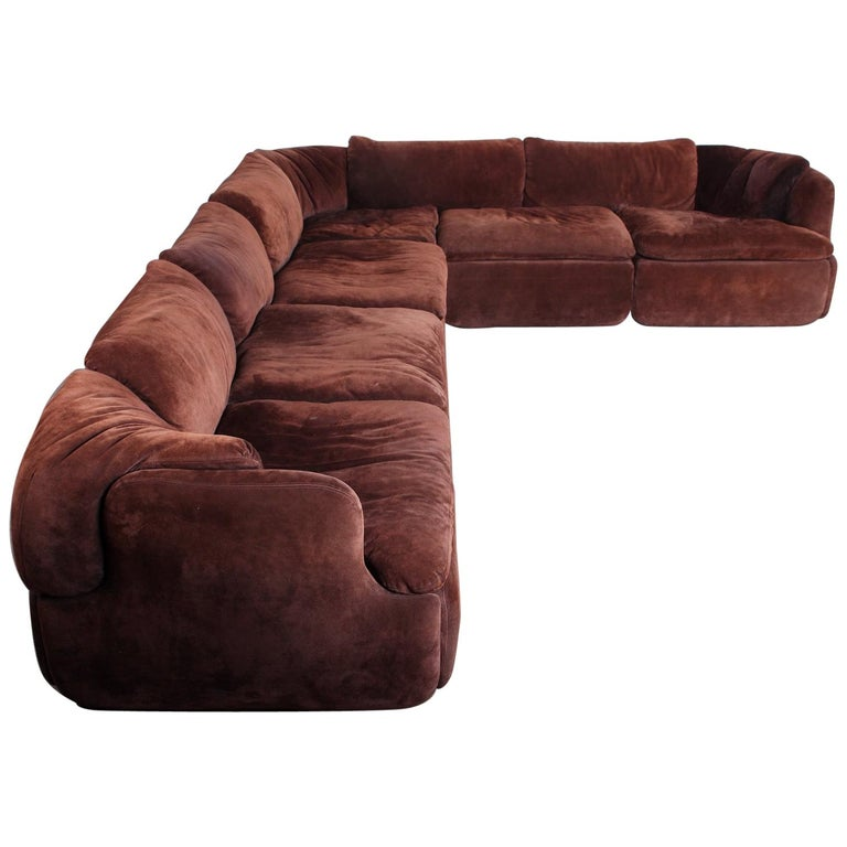 Suede Sectional Sofa by Alberto Rosselli for Saporiti