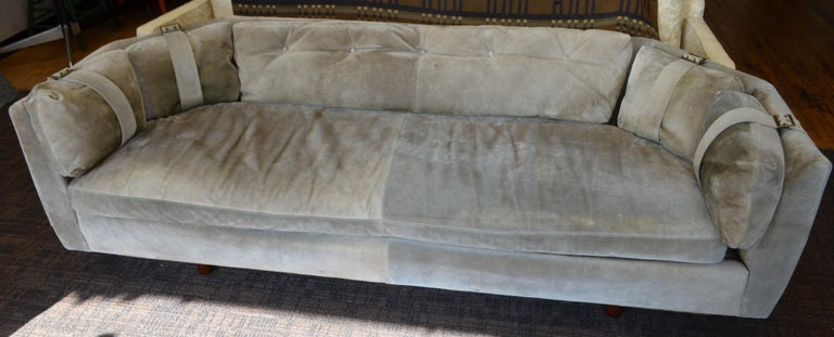 Suede Sofa Couch Of Olive Color With Brass Buckles