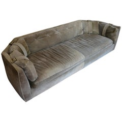 Suede Sofa Couch of Olive Color with Brass Buckles Midcentury Style
