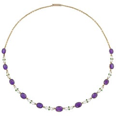 Suffragette Amethyst and Enamel Necklace