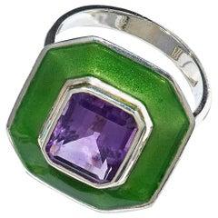 Suffragette Amethyst Octagonal Aurora Ring 18 Karat Gold Green Dew Enamel
