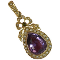 Suffragette Amethyst Seed Pearl and Tourmaline 15 Carat Gold Pendant