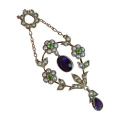 Suffragette Amethyst Seed Pearl and Peridot 9 Carat Gold Pendant Necklace Chain