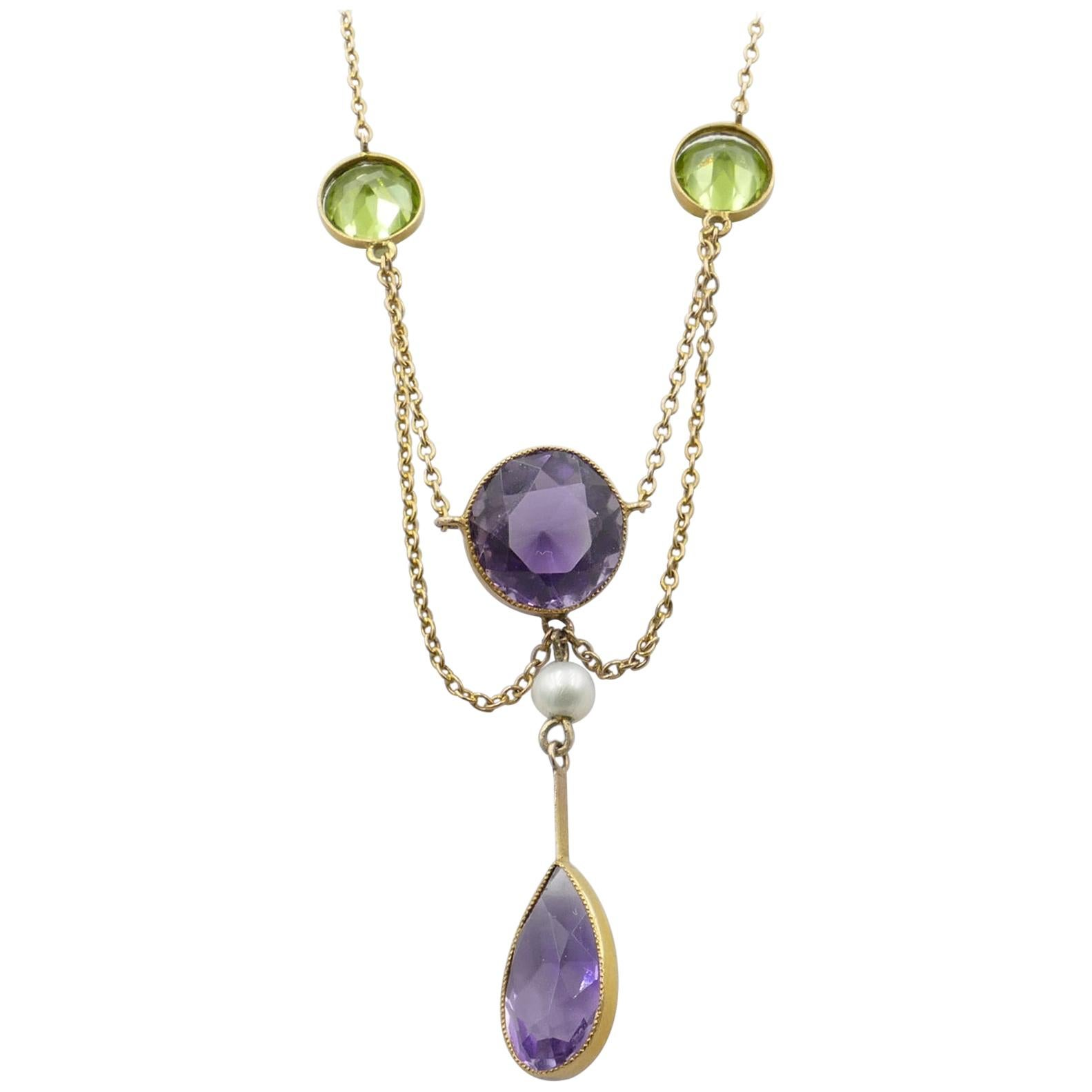 Suffragette Edwardian Yellow Gold Amethyst, Peridot and Pearl Festoon Necklace