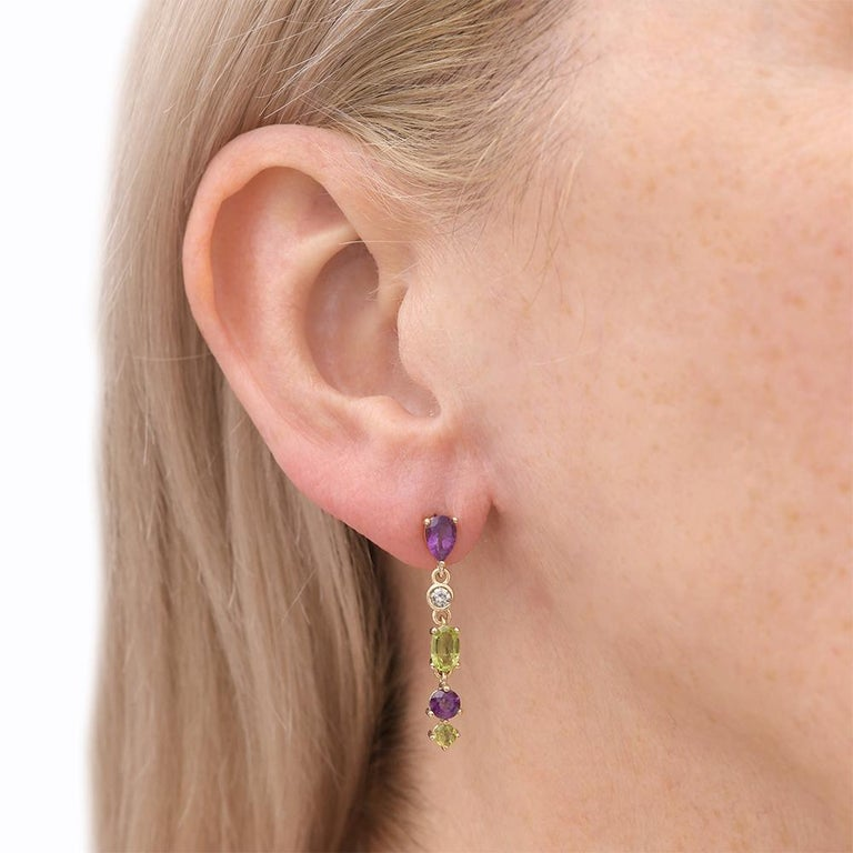 Suffragette Style Peridot, Diamond and Amethyst Drop Earrings For Sale 4