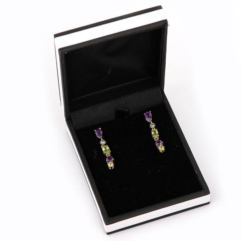 Suffragette Style Peridot, Diamond and Amethyst Drop Earrings For Sale 5