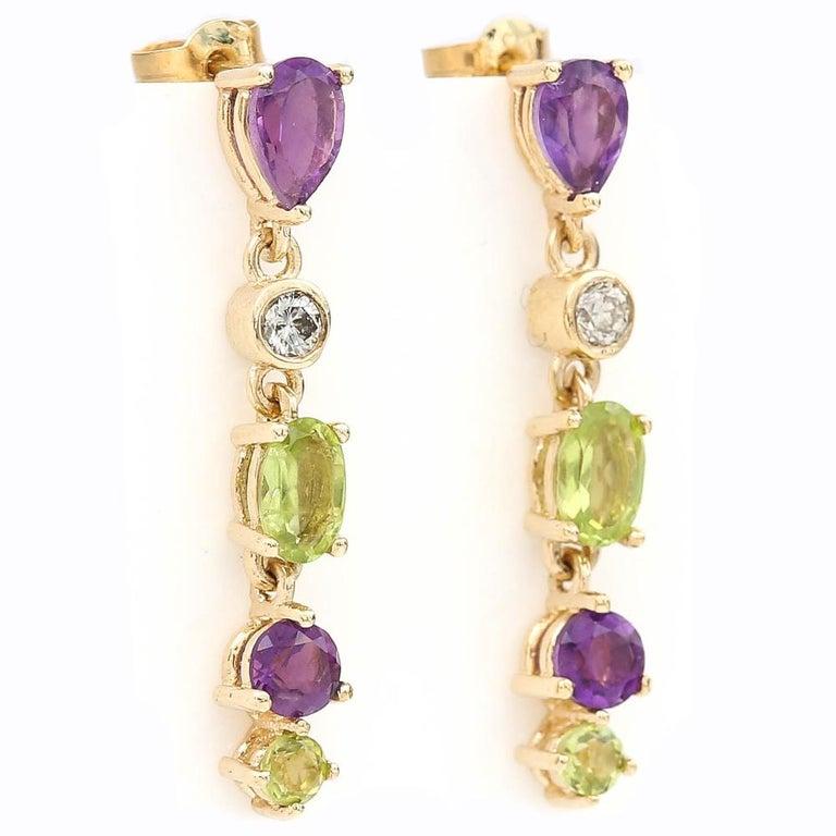 Modern Suffragette Style Peridot, Diamond and Amethyst Drop Earrings For Sale