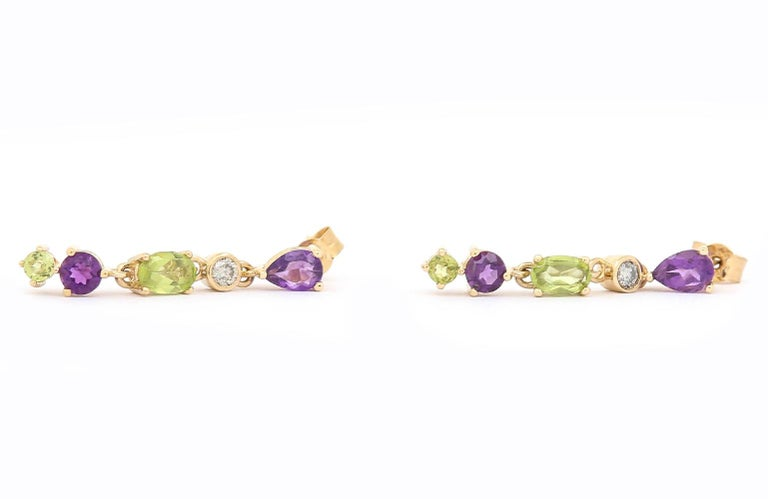 Suffragette Style Peridot, Diamond and Amethyst Drop Earrings In New Condition For Sale In Lancashire, Oldham